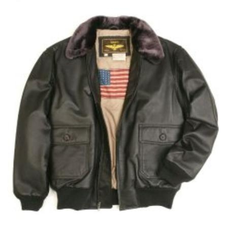 SKU#AL900 Mens Navy G-1 Flight Leather Bomber Jacket $129