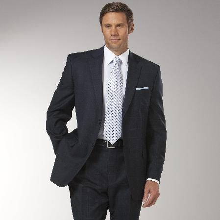 SKU#JZ3821 Mens Navy Plaid affordable suit online sale $175