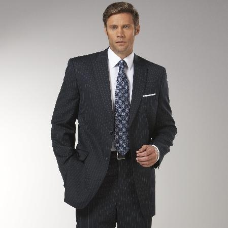 SKU#ER2973 Men's Navy Blue Stripe ~ Pinstripe Peak Lapel affordable suit online sale