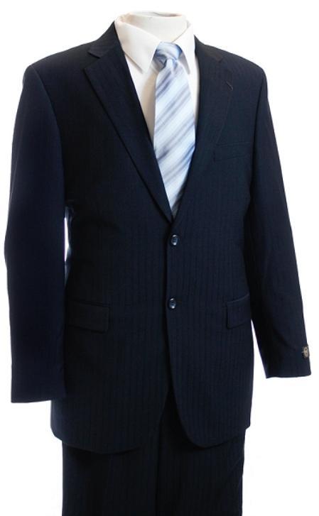 SKU#FG4578 Mens Navy Tone/Tone Pinstripe Designer affordable suit online sale