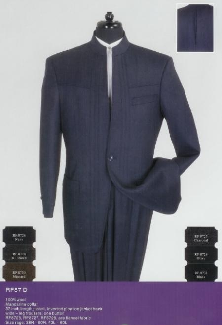 SKU#AS923 Mens Nehru Styled Suit in 100% Wool $189