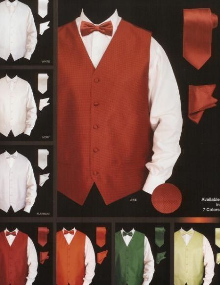 SKU#SD456 Mens New Jaquard Satin Vest Set