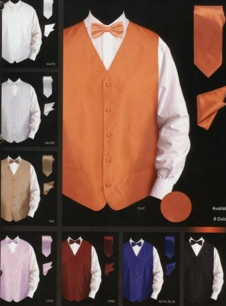 SKU#ER432 Mens New Textured Satin Vest Set $49