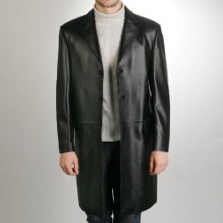 SKU#SA665 Mens New Zealand Lambskin Leather Walking Coat $369