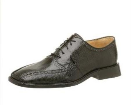 Belvedere Mens Noce Oxford Made of Lizard and Ostrich Black $299