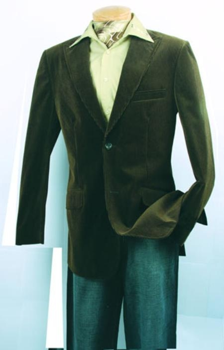 SKU#TN397 Mens Olive Fashion Sport Coat Velvet Fabric $500