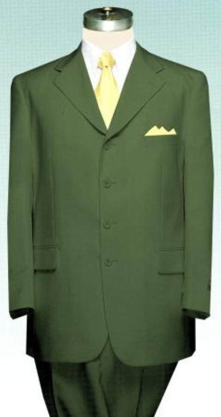 SKU#TMC733 Mens Olive Green Cheap Suit Poly Blend Single Breasted Discount Cheap Suit $79
