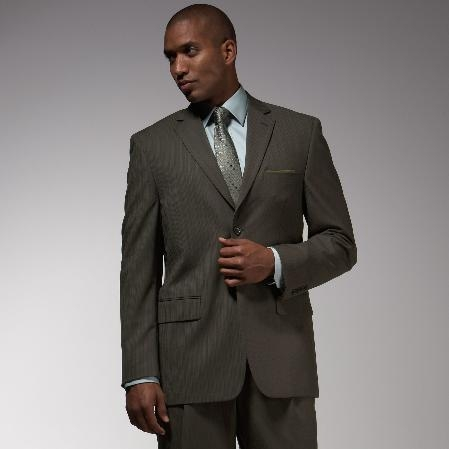SKU#QM1382 Mens Dark Olive Green Pinstripe Pattern of Very Thin Stripes affordable suit online sale $139