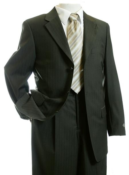 SKU#HG7979 Mens TNT Dark Olive Green Pinstripe Pattern of Very Thin Stripes Designer Suit $139