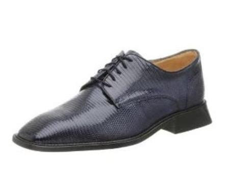Belvedere Mens Olivo Oxford Made of Lizard Navy