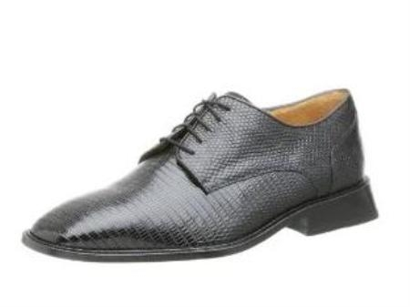 Belvedere Mens Olivo Oxford Made of Lizard Black