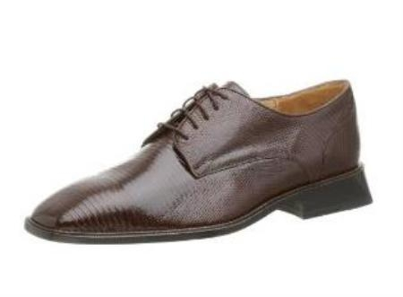 Belvedere Mens Olivo Oxford Made of Lizard Brown