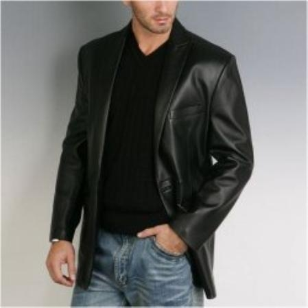SKU#PD784 Mens One Button Lambskin Leather Blazer $285