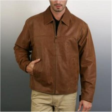 SKU#SD834 Mens Open-Bottom Leather Bomber Jacket $149