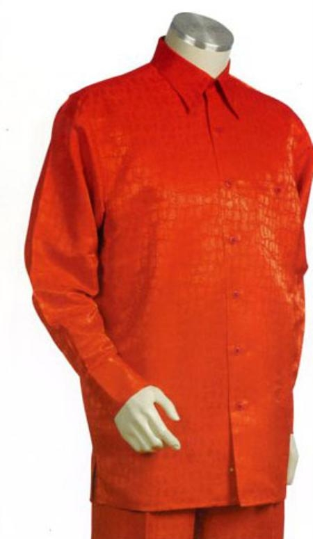 SKU#BK762 Mens Orange Long Sleeve 2pc Set including Matching Wide Leg Dress Pants $125