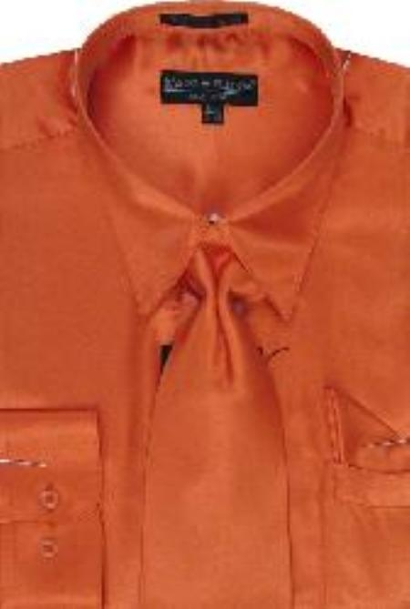 SKU#UH122 Men's Orange Shiny Silky Satin Dress Shirt/Tie