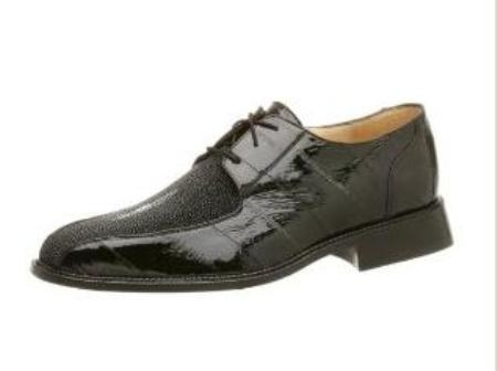 Belvedere Mens Ottone Oxford Made of String Ray & Eel Black $319