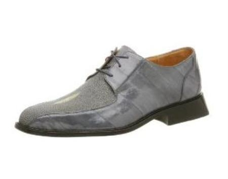 Belvedere Mens Ottone Oxford Made of String Ray & Eel Gray $319