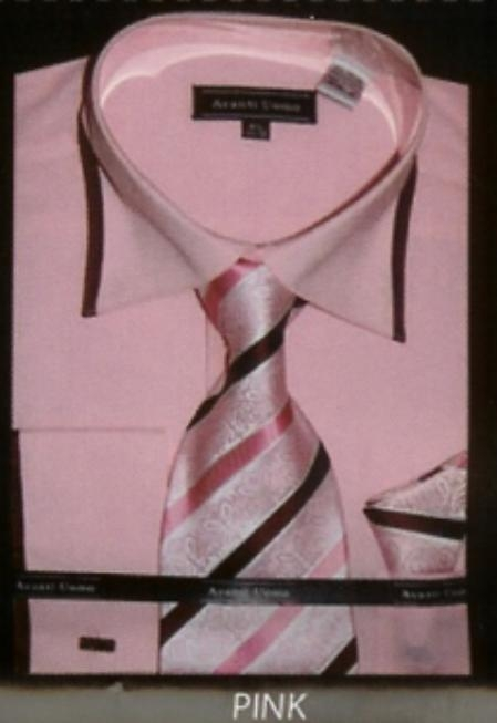 SKU#WY560 Mens Pink French Cuff Dress Shirt Set $65