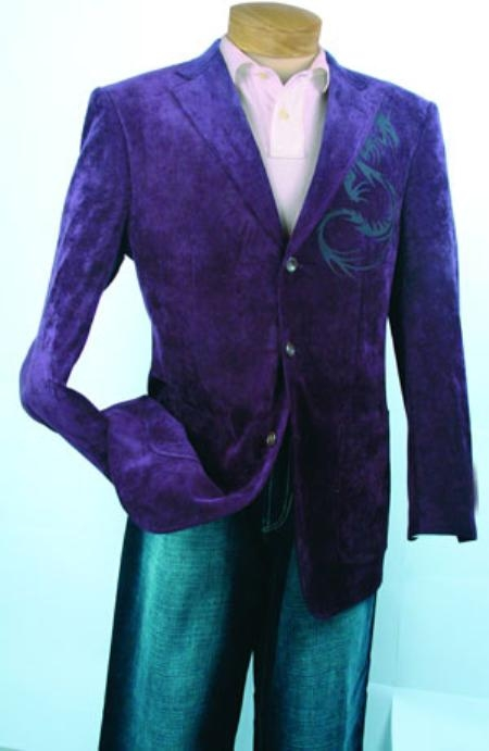 SKU#KS492 Mens Purple Fashion Sport Coat $99