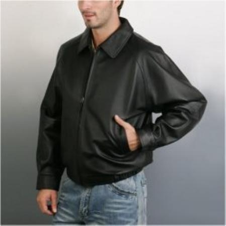 SKU#PA235 Mens Raglan Sleeve Leather Bomber Jacket $239
