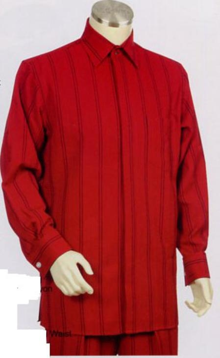 SKU#ER663 Mens Red Long Sleeve 2pc Set with French Cuff Shirt including Wide Leg Dress Pants $125