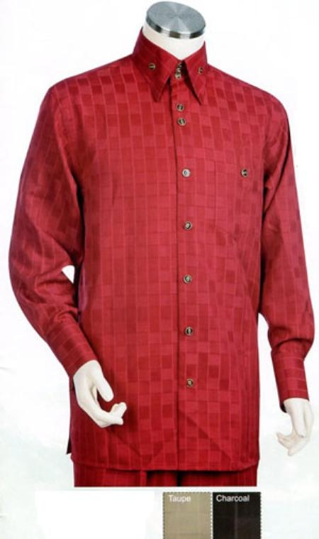 SKU#KH637 Mens Red Long Sleeve 2pc Set including Matching Wide Leg Dress Pants $125