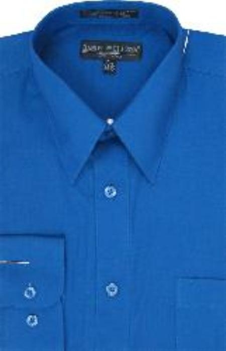 Men S High Quality Cotton Blend Royal Blue Dress Shirt