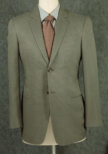 SKU# L590 Mens  Sage Colored 2 Button Super High Twist Wool Suit $159 by Loriano