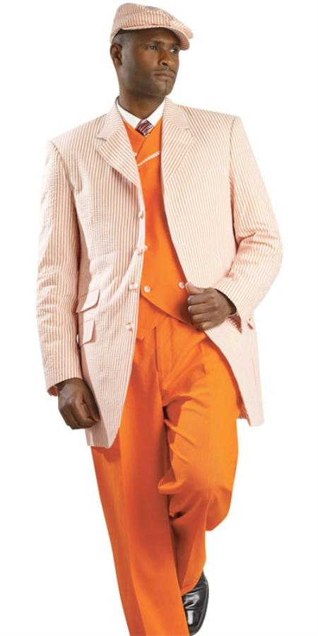 SKU#RH8652 Mens Seersucker Suit Available in Orange, Black, Lavender, Blue and Red $179
