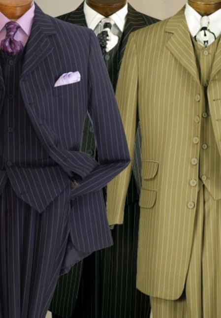 SKU#PR338 Mens Seven Button Three Piece Pencil Stripe Suit $149