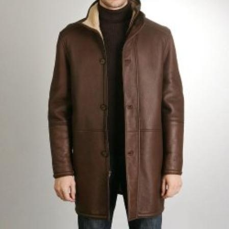 SKU#GL800 Mens Sheepskin Shearling Long Coat $1034