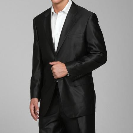 SKU#SH22 Mens Shiny Black 2-button Suit $169