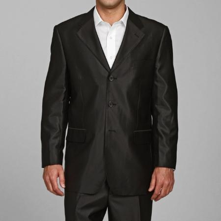 SKU#SH22 Mens Shiny Black 3-button Suit $225
