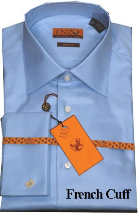 SKU#RT334 Mens Shirt Blue Twill French Cuff 61102-2