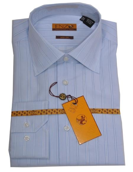 SKU#SA226 Mens Shirt Blue Stripe Regular Cuff 61104-1-B $75