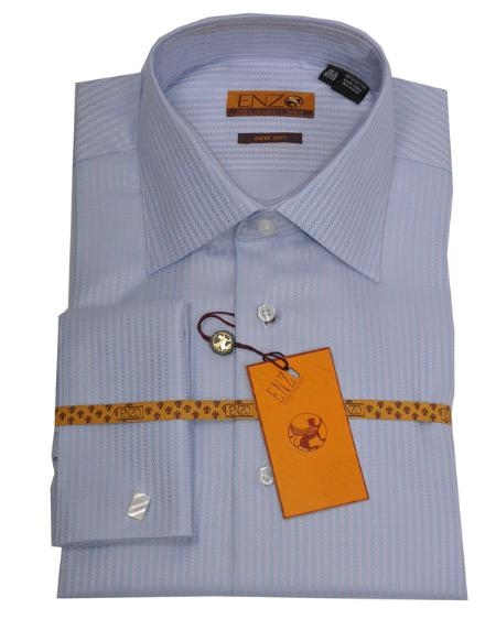 SKU#TG711 Mens Shirt Blue/Pink Herringbone French Cuff 62020-1 $75