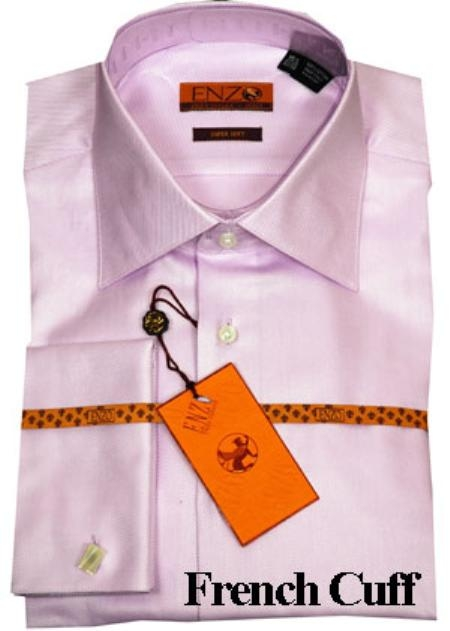SKU#KG722 Mens Shirt Lavender Twill French Cuff 61102-4 $55