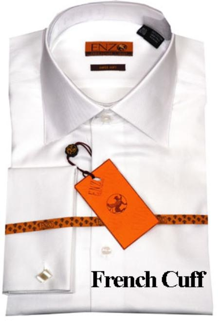 SKU#LK411 Mens Shirt White Twill French Cuff $55