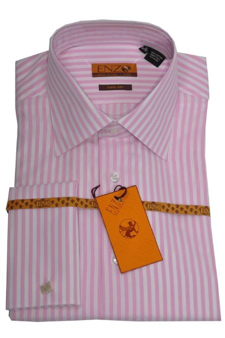 SKU#BN423 Mens Shirt White/Pink Strip French Cuff 62023-1 $55