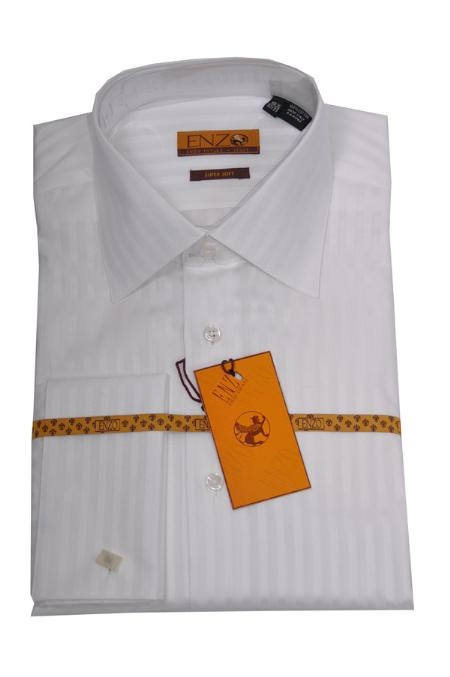SKU#NB431 Mens Shirt White Tone on Tone Twill French Cuff 61105-1 $75