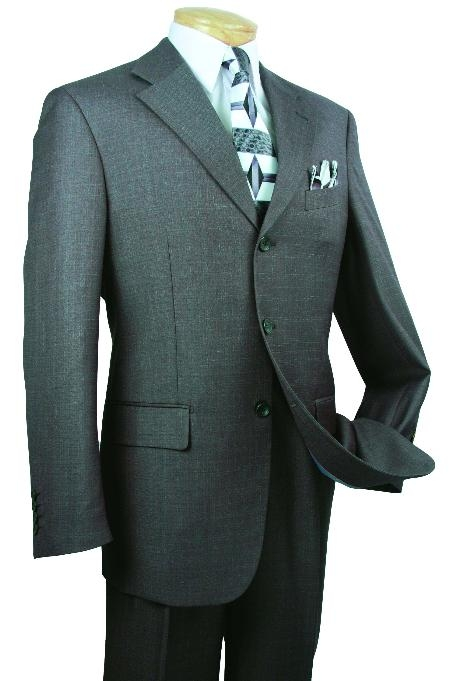 SKU#TH7893 Mens Single Breasted 3 Button Charcoal affordable suit online sale $139