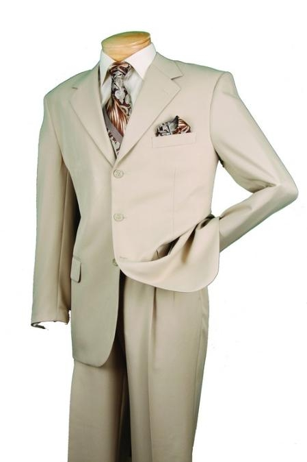 SKU#RM29830 Men's Single Breasted 3 button Beige affordable suit online sale