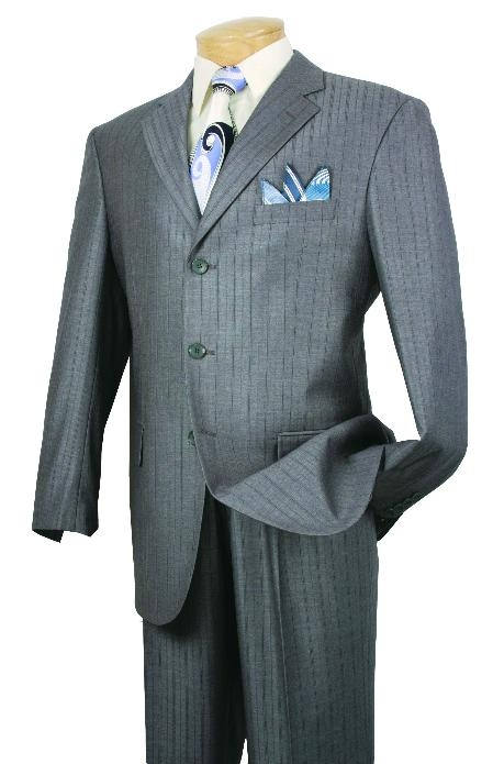 SKU#UV60873 Mens Single Breasted 3 button Gray affordable suit online sale