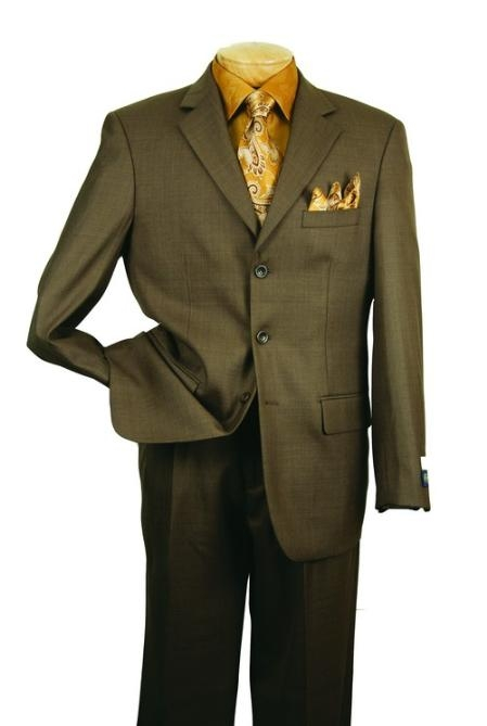 SKU#QM93990 Mens Single Breasted 3 button Olive affordable suit online sale $139