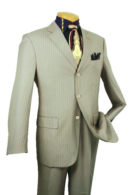 SKU#VT59523 Mens Single Breasted 3 button Tan affordable suit online sale $139