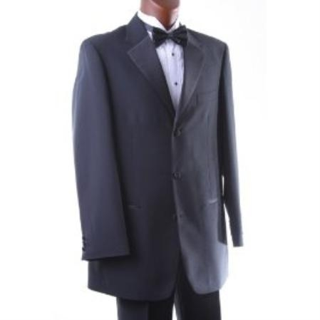 SKU#KH696 Men's Single Breasted Three Button Black Tuxedo