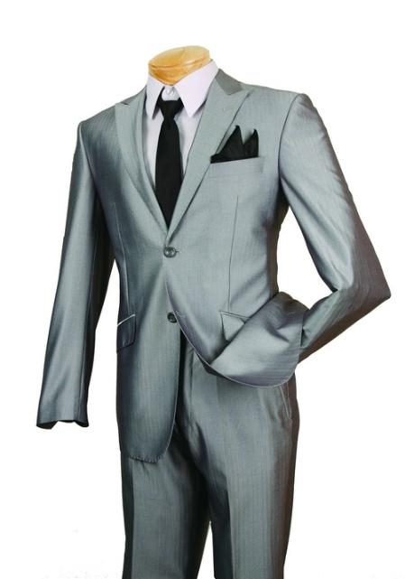 SKU#JM83076 Mens Single Breasted 2 Button Suit Gray $139