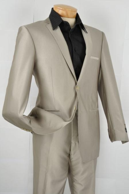 SKU#EW8922 Mens Slim Fit Suit - OatMeal $139