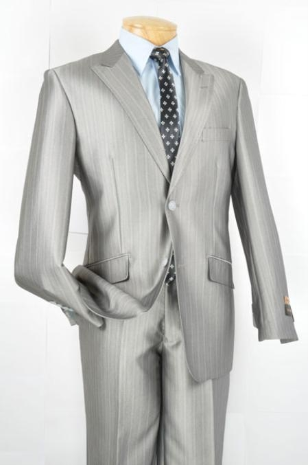 SKU#PL2929 Mens Slim Fit Suit - Silver $139